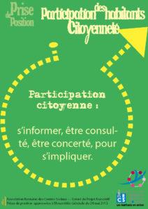 Participation des habitants - Citoyenneté Prise de positionPrise de position