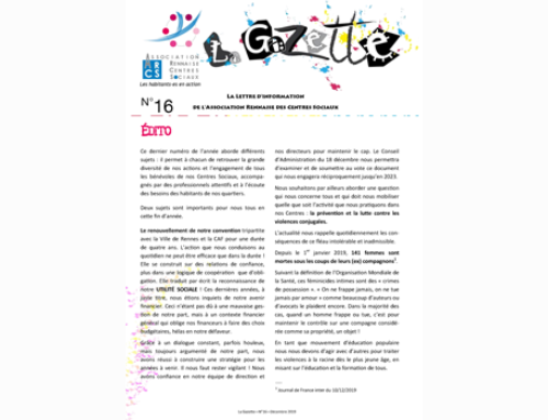 ÉDITO – Gazette N°16