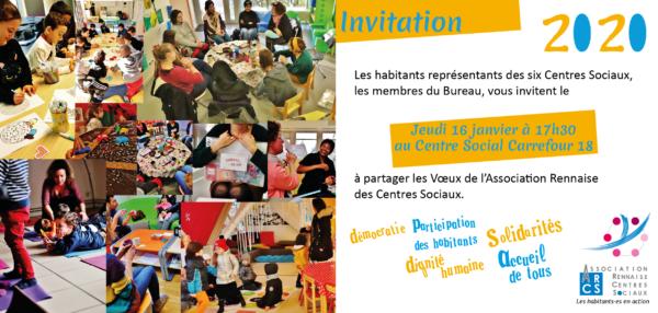 Invitation Voeux de l'Association Rennaise des Centres Sociaux